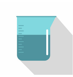 Blue measuring cup with water icon flat style vector