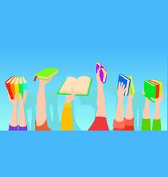 books holding horizontal banner cartoon style vector image