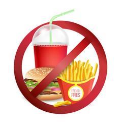 Fast food danger label no food or drinks vector