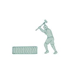 Fitness athlete sledge hammer striking tire vector
