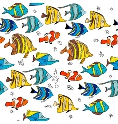 Simple seamless pattern with coral fishes Endless vector image