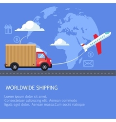 Supply and delivery logistics services in the vector image