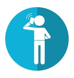 character user smartphone talking call shadow vector image