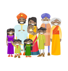 happy extended indian family with cheerful smile vector image vector image