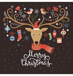Christmas card Christmas deer vector image vector image