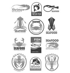 icons for seafood fish food restaurant menu vector image
