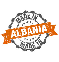 made in albania round seal vector image vector image