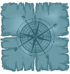 Old damaged sheet of paper with compass rose vector image