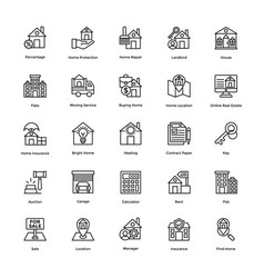 real estate line icons set 5 vector image vector image