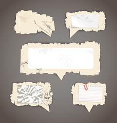 Scratched paper speech clouds vector image vector image