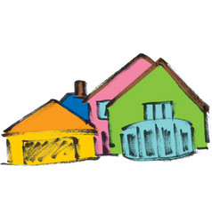 several colored houses vector image vector image