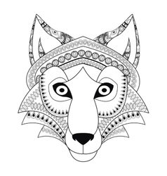 tribal wolf icon vector image vector image