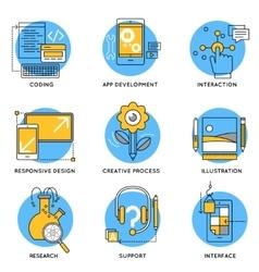 App Line Icon Set vector image