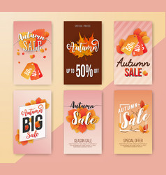 autumn sale vertical banner background design vector image vector image