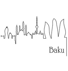 baku city one line drawing background vector image vector image