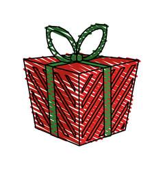 color crayon stripe cartoon christmas giftbox with vector image