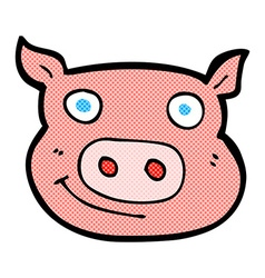 comic cartoon pig face vector image vector image