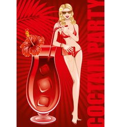 girl in bikini with large cocktail vector image