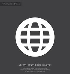 globe premium icon white on dark background vector image vector image