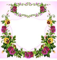 Watercolor pansy bouquet label vector