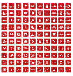 100 europe icons set grunge red vector image