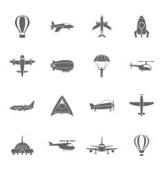 Aircraft icons set black vector