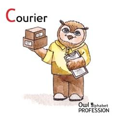 Alphabet professions Owl Letter C - Courier vector