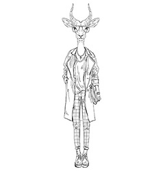 Antelope dressed up in modern style city look vector