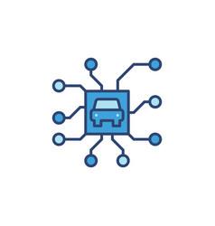 Autonomous automobile chip blue icon autopilot vector