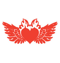 Banner with red flying heart with wings on fire vector