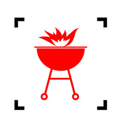 barbecue with fire sign red icon inside vector image