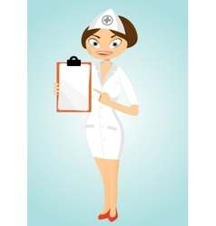 beautiful confident nurse with clipboard vector image
