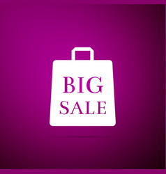 big sale bag icon isolated on purple background vector image