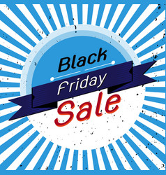 black friday sale banner with blue rays vector image