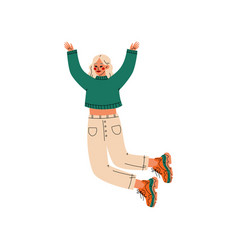 blonde girl happily jumping celebrating important vector image