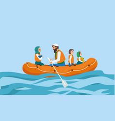 boat immigrant family concept banner flat style vector image