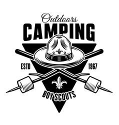 boy scout black camping vintage emblem vector image