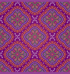 Bright seamless indian pattern paisley on purple vector