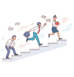 businessman running up stairs in a race vector image