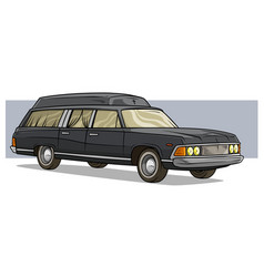 cartoon black old long classic funeral hearse car vector image