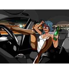 cartoon funny drunk girl in the car with a bottle vector image