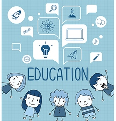 Child with a education icon on speech bubble vector