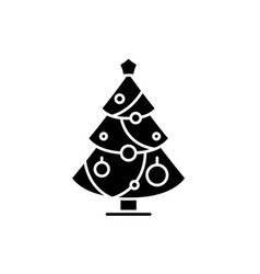 christmas decoration tree black icon sign vector image