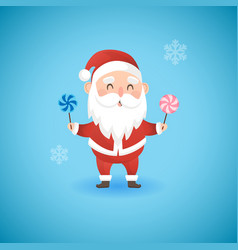 christmas funny santa claus holding lollipops vector image