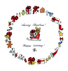 christmas toys sledges gifts on the white vector image