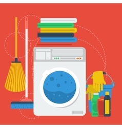 Cleaning items and washing machine vector image