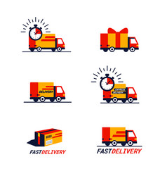 color set delivery related icons trucks and vector image