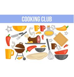 cooking club poster with kitchenware and vector image