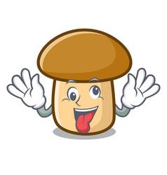 Crazy porcini mushroom mascot cartoon vector