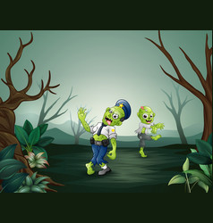 creepy zombies walking in the forest vector image